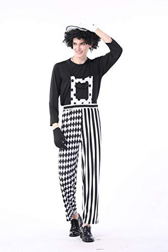 Kostüm Männlich Magier - Simmia Halloween Kostüm,Halloween Clown Magier Paare Erwachsene Schwarz-Weiß-Streifen Circus Clown Nachtclub Bar, männlich, L