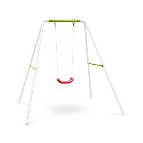 oneConcept Miri • Kinderschaukel • Gartenschaukel Schaukelgestell mit Schaukel (für Kinder von 3-10 Jahren, bis 45 kg, Möglichkeit zur dauerhafte Befestigung per Beton-Sockel • inkl. 4 Erdnägel zur Boden-verankerung • grün-weiß