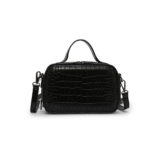 Generic Stone Pattern Crossbody Bags For Women 2019 Fashion Small Solid Colors Shoulder Bag Female Handbags and Purses With Handle New Color Black Size 21.5cm x14cm x7.5cm