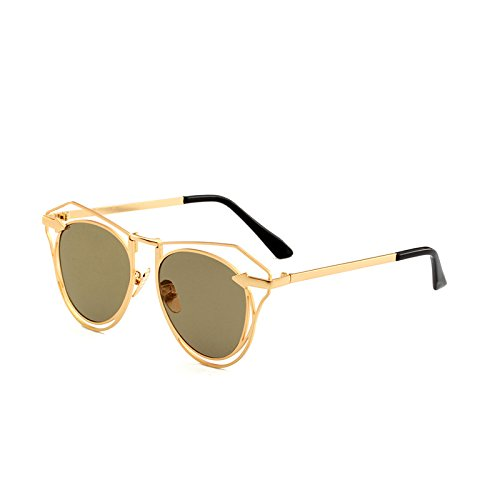 SUNGLASSES New Arrow Sonnenbrille Mode Damen Polygonale Gläser Herren Sonnenbrille Hohle Linse (Farbe : Gold Frame Local Tyrant Gold)