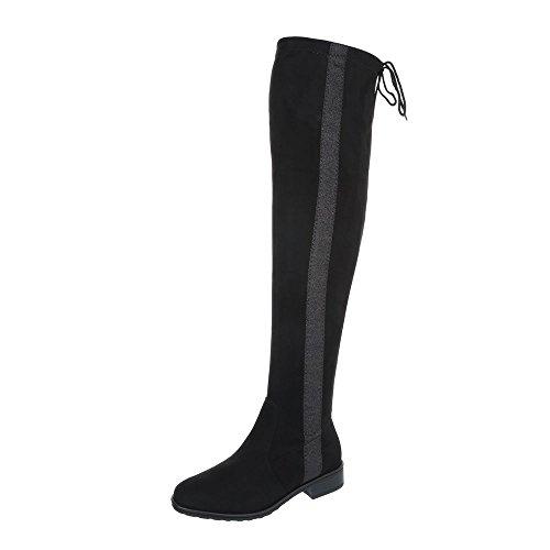 Chaussures femme Bottes et bottines Bloc Bottes Cuissardes Ital-Design Noir