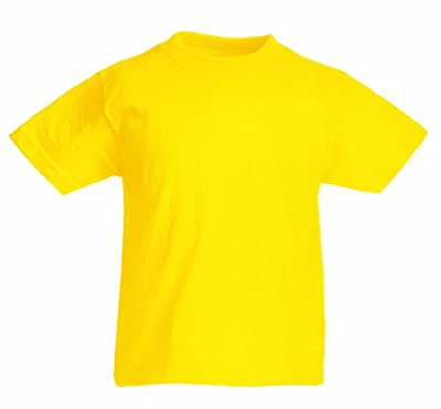 Fruit of the Loom Childrens T Shirt in Yellow Size 9-11 (SS6B)