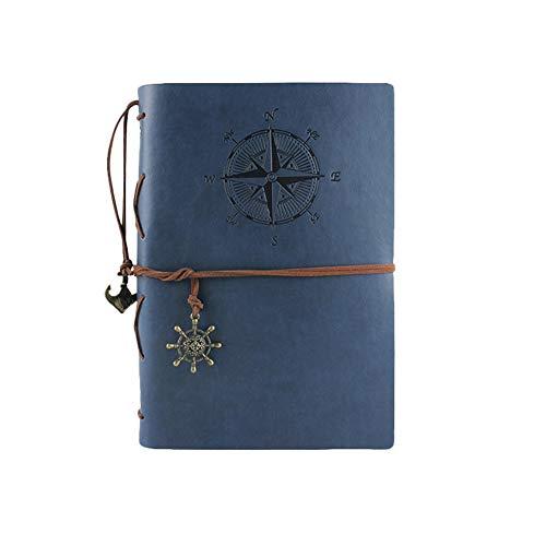 us Kunstleder Geprägt Spiralbindung Nachfüllbares Reise Tagebücher Notizblöcke mit 160 Blanko Seiten Dunkelblau A6 126 * 183mm ()