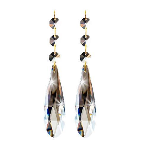Kronleuchter Perlen 6 Stück,7cm Kristall-Perlen mit Achteck Perlen Kette, Kristall Ersatz für Kronleuchter, Kristall Anhänger für Lichter, Glas Kronleuchter Perlen für Dekoration