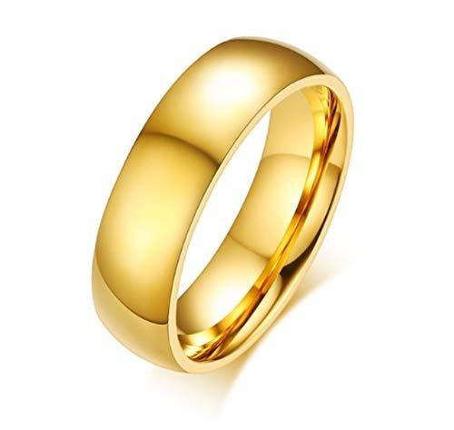 XCJZ Ringe Gold-Farbe Eheringe Ring Für Frauen Männer Schmuck 6Mm Edelstahl Verlobungsring Jubiläum, 5