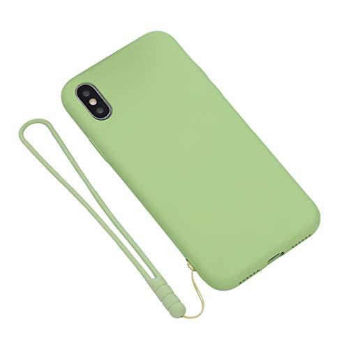 Funda Xiaomi Mi Mix 2S, Carcasa Caso Móvil Original de Silicona Líquida Gel Ultra Delgado Flexible Anti-Arañazos Impermeable + Cordón de Silicona + Protector de Pantalla para Xiaomi Mi Mix 2S-Verde