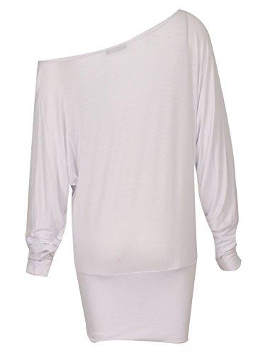 Fast Fashion - En Haut Manches Longues Sur L'épaule Off Embrassez Moi Me Bercer Fille Foil Batwing - Femmes Blanc