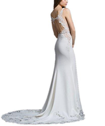 APXPF Damen V-Ausschnitt Nixe-Spitze-Hochzeitskleid Brautkleid 12 Weiß