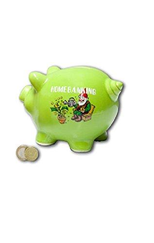 Großes Sparschwein Homebanking hellgrün Geld sparen