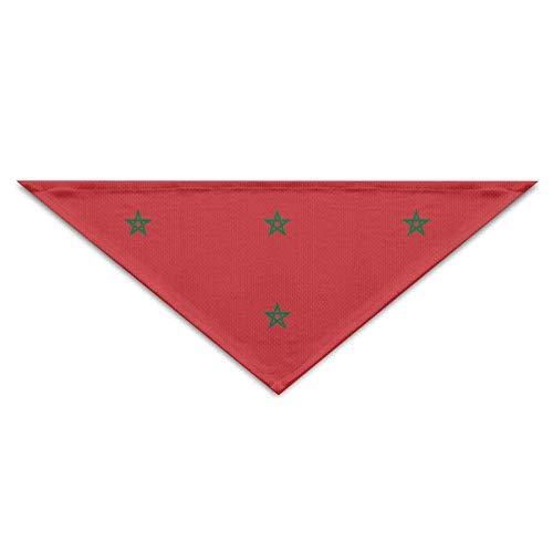 Wfispiy Flag of Morocco Dog Bandanas Scarves Triangle Bibs Scarfs Fashionable Basic Neckerchief Cat Collars