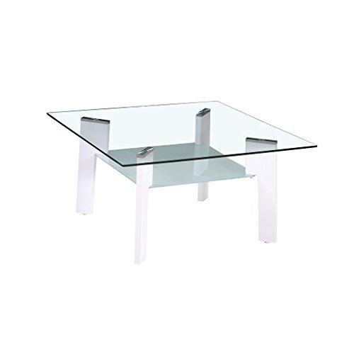 Zons Couchtisch, Glas, 80 x 60 x 44 cm, Weiß