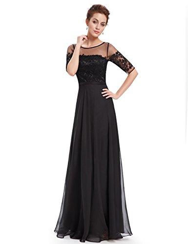 Ever Pretty Lace Halbtransparent V-Ausschnitt 1/2 Aermel Lang Chiffon Abendkleid 08459 Schwarz