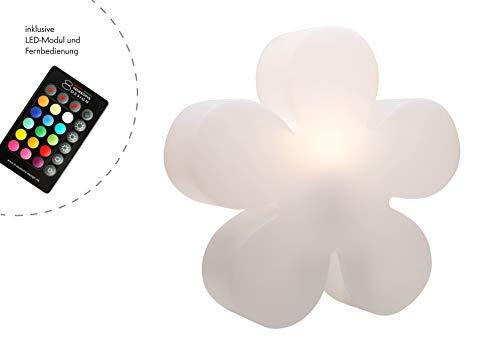 ED Blume Shining Flower (Ø 40 cm, Farbwechsel, RGB, 15 Farben, dimmbar, Dekolampe In- & Outdoor, Deko Gartenleuchte, Kinderzimmer) weiß ()