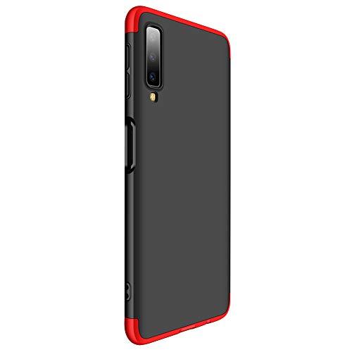 9-evei Hülle for Galaxy A7 2018, HandyHülle 3 in 1 Ultra Dünner PC Harte Case 360 Grad Ganzkörper Schützend Schutzhülle Tasche für Samsung A7 2018 (schwarz + rot, A7 2018) -