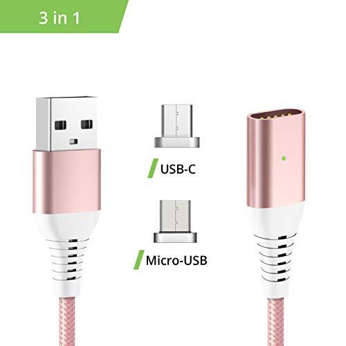 Liamoo Ladekabel 3in1 Set magnetisch - Fast-Charge - USB Datenkabel - Kabel - Charger - Magnet-Kabel - Sync in Rosé