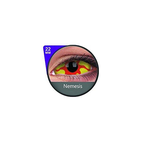 1 Paar Sclera NEMESIS Kontaktlinsen linsen farbige gelb rot vampir sklera mit Box dämon halloween kostüme scleral