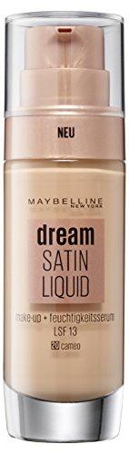 20 Schimmernden Primer (Maybelline Dream Satin Liquid Make-up Nr. 20 Cameo, für einen natürlich strahlenden Teint mit zart schimmerndem Satin-Finish, mit Feuchtigkeitsserum und mattierendem Primer, 30 ml)