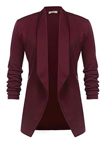 Unibelle Damen Blazer Lang Cardigan Tailliert Elegant Casual Jacke Blazer Slim Fit Anzug Trenchcoat Rot XXL