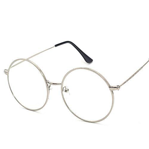 BAACHANG Runder Rahmen Vintage Geschnitzte Myopie Flacher Spiegel College Brille für Frauen und Männer (Farbe : Silver) -