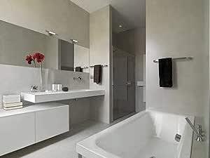 Moderno Bagno Con Vasca E Box Doccia In Muratura 43295425 Tela 80 X 60 Cm Amazon It Casa E Cucina