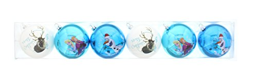 Disney frozen 6 decorazioni natalizie palle in tubo, blu