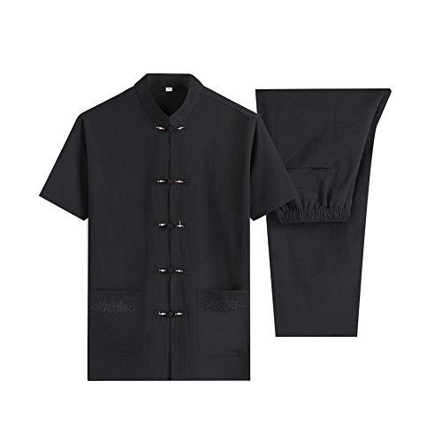 ZZUU Chinesischer Tang-Anzug - Chinesischer traditioneller Tai Chi-Kampfsport Kung Fu-Kurzarmanzug, Baumwolle und Leinen,Black,XXL - Xxl-uniform-kleidung
