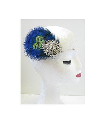 Bleu/Argent/Vert paon plumes Bandeau style vintage années 1920 Flapper U61 * * * * * * * * exclusivement vendu par – Beauté * * * * * * * *