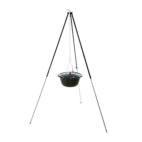 acerto 30133 Original ungarischer Gulaschkessel (10 Liter) + Dreibein-Gestell (180cm) * Emailliert * Kratzfest * Geschmacksneutral | Teleskop-Dreifuß mit Gulasch-Topf, Suppentopf, Glühweintopf