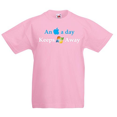 lepni.me Kinder Jungen/Mädchen T-Shirt Ein Apfel am Tag - Lustige Sprüche, Große ungewöhnliche Geschenk-Ideen (7-8 years Pink Mehrfarben)