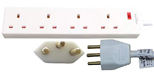 ShaniTech 4-Gang-Reiseadapter-Verlängerungskabel mit Power-Licht, 1 m, leicht, für Schweiz, Ruanda, Liechtenstein, 4 Steckdosen, Weiß -