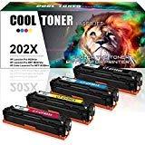 Cool Toner Compatible for HP 202X CF500X 202A CF500A Toner Cartridge for HP M281fdw HP Laserjet Pro M254dw MFP M281cdw M281fdw M281dw M280nw M254 M281 Toner Printer Ink (Black Cyan Magenta Yellow)
