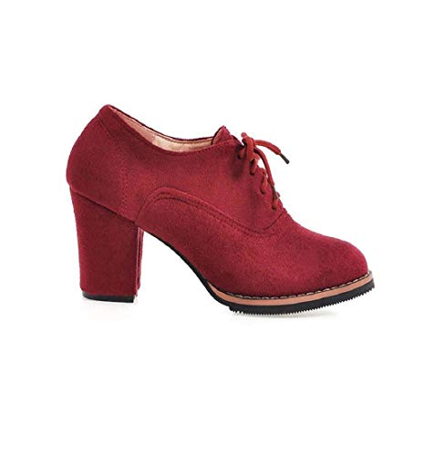 HupoopFrauen Solide Lace-Up Hohe Dicke Square Flock Stiefeletten Runde Zehenschuhe(rot,41) Plus Square Neck