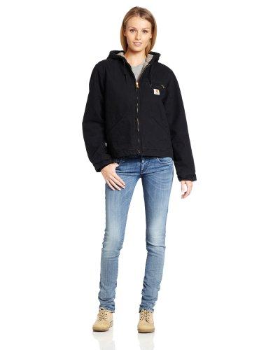 Carhartt Women's Sherpa Lined Sandstone Sierra Jacket Zip Front Hooded WJ141,Black,X-Small