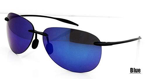 LKVNHP Oculos Masculino Frauen Randlose Sonnenbrille Männliche TR90 Kunststoff Speicher Sonnenbrille Männer Flexible Nylon Objektiv oculos de sol Shades MännerTR Sonnenbrille BLAU