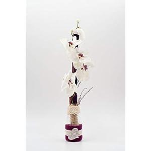 Tischgesteck mit weiß/pinken Phalaenopsis+Herz-Tischdeko mit künstlichen Orchideen