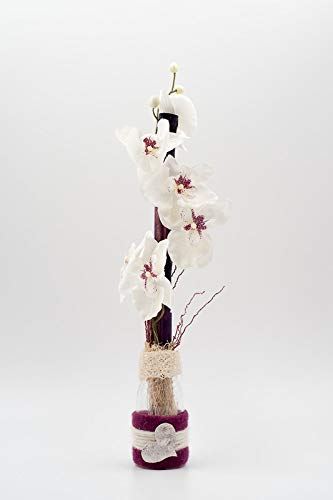 Arredamento floreale con phalaenopsis bianca+un cuore in un vaso-centrotavola con orchidee artificiali