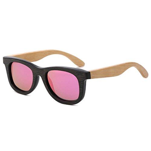 Xiao Mi Guo Ji Sonnenbrille Two Tone Glanz Holz Holzmaserung Muster Effekt Rahmen gespiegelte Linse UV400 Polarisierte Brille (Farbe : 2)