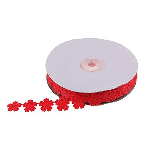 P Prettyia 20 Yardas 20mm Banda Decorativa Cinta de Flor Costura Encajes y Puntillas - Rojo