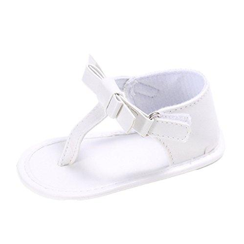 Enfants Chaussures Auxma Pour 3 à 18 mois Bébé filles bow summer Sandals Soft Sole chaussures antidérapantes (3-6 M, Noir) blanc