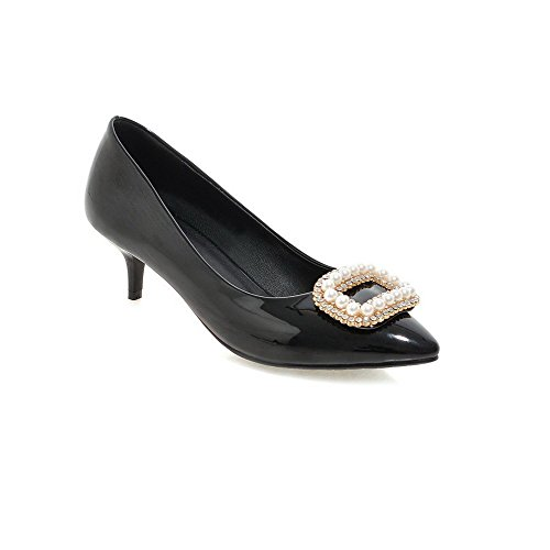 Senhoras Agoolar Toe Pontas Bombas De Couro Envernizado Salto Médio Inserido Puxar Sapatos Pretos