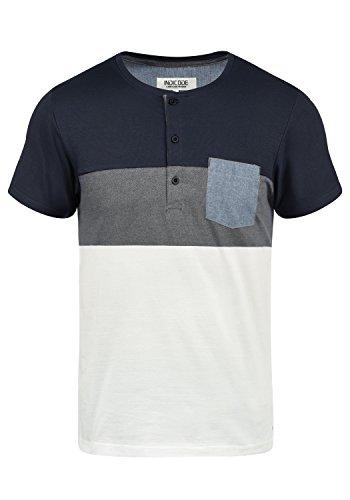 Indicode Albert Herren T-Shirt Kurzarm Shirt Mit Grandad-Ausschnitt Aus 100% Baumwolle, Größe:M, Farbe:Navy ()