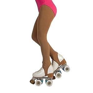 CALZITALY Mädchen Rollschuh und Eiskunstlauf Strumpfhose mit Steg | Beige, Schwarz | 6 Jahre, 8 Jahre, 10 Jahre, 12 Jahre | 70 DEN | Made in Italy
