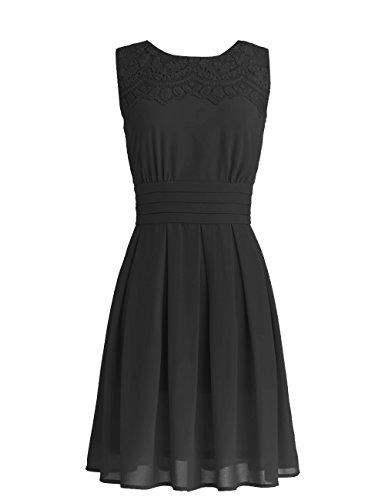 Dressystar Robe de soirée/bal courte avec Appliques en mousseline Noir