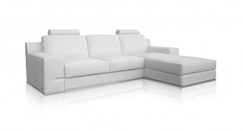 Torrenova Salon Canapé d'angle droite classique Cuir Blanc