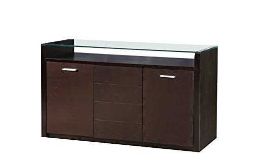 Design Sideboard Vicenza Bivona mit Glasplatte 3-türig Nussbaum dunkel (Nussbaum-buffet Dunkle)