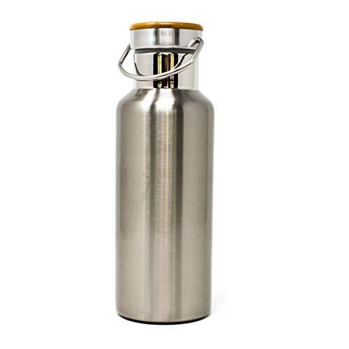 dsnetz Edelstahl Trinkflasche 500 ml Sportflasche Isolierflasche Thermoflasche Thermos Auslaufsicher Bambus Kappe Wasserflasche Rutschfest Vakuum doppelwand Isoliert BPA Frei Plastikfrei Eco Bio