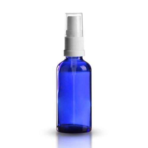 5X Blu Bottiglia in vetro 50ML BLU OLTREMARE/flacone Spray con Vaporizzatore a pompa/testa di spruzzo Bianco bianco DIN 18, qualitativi dopo il libro europeo per medicinali Astuccio con cappuccio di protezione trasparente * * * * * *