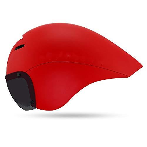 LPC Rennradhelm Veranstaltungsort Wettbewerb Triathlon Helm Zeitfahren Reiten Männer und Frauen Helm Goggles Mode (Farbe : Red)