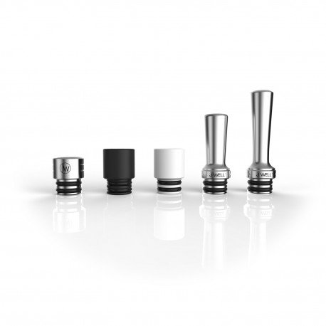 5er Pack Mundstücke 510 | Drip Tip Collection | Delrin | Teflon | Edelstahl | Micro | Medium | Long Drip| J WELL France | ohne Nikotin |
