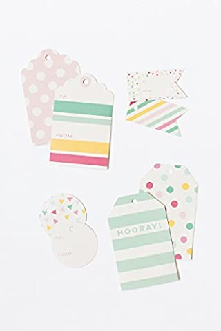 My Mind's Eye Hooray Tags, Set of 12, Pink, Red, Teal, Yellow and Mint Colors by My Mind's Eye